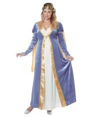 #01742 Bring back the days of yore with this beautiful Renaissance queen or princess costume. Includes: - Blue and gold dress - Attached cape - Half crown - Jeweled pin Sizes: XXL 18-20, XXXL 20-22