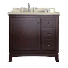 Ove Decors Valega 36 in. Vanity in Tobacco with Cultured Marble Vanity Top in Beige-Valega 36 at The Home Depot