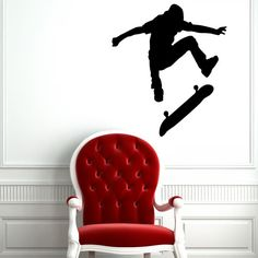 Skate Skateboard Skateboarder Board Sport Jump Street Wall Vinyl Decal Sticker Housewares Design Murals Interior Decor Home Bedroom SV4967