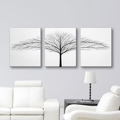 Tree of Life Wall Art White Canvas Art Large Wall Decor Modern Art Original Painting Trees Wall Hangings Black & White Paintings 48x20 by ToddEvansArt