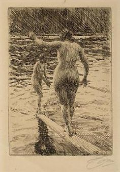 Bathers etching by Anders Zorn.
