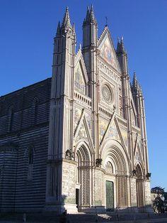 Orvieto Cathedral, Orvieto, Umbria, Italy black and white stripped marble!