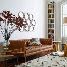 Modern Chesterfield Leather Sofa | west elm - $2499