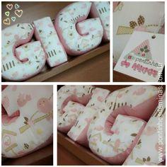 Super fofas! As Almofadas de Letras 3D dão aquele toque especial na decor! Almofadas / Pillow / Decor / Pontinhos de Minas / Baby / Kids / Room / Home  www.pontinhosdeminas.com.br