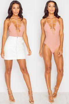 Ivana Nude Caged Bodysuit