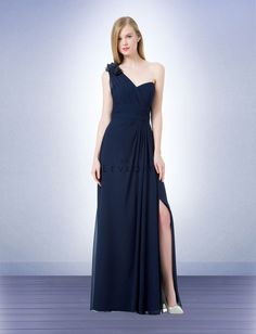 b06c5af4788 Bill Levkoff 1220 is a chiffon bridesmaid gown with one wide shoulder strap  with flower accents