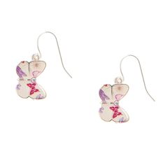 White Butterfly Drop Earrings
