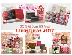 Be on the look out for new Christmas 2017 prints and items... Hello Holiday, Dainty Dot, Cool Cutie, Chevron Dash,  Deep Merlot Pebble, Rose Glow Pebble w/ Gems. Items include... Stackin' Jacksons, Littles Carry-All Caddy, Twice As Nice Tote, Keepin' Cozy Scarf, Total Beauty Trio. Check out everything online at MyThirtyOne.com and look in the upper right corner to select your consultant.