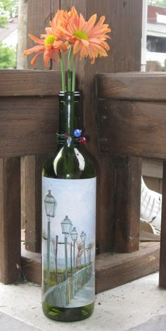 Upcycled wine bottle vase with Van Gogh Print
