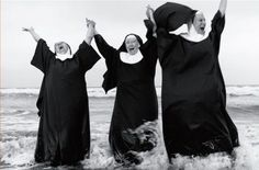 nuns having fun in the sea lol why is this so funny..lolll