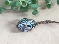 Tree Agate healing crystal necklace hand-wrapped in natural hemp cord.