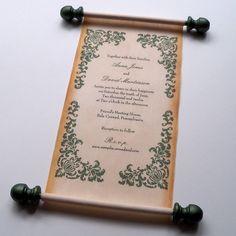 Rustic wedding invitation scroll burlap and by ArtfulBeginnings