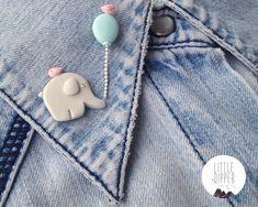 Elephant and Balloon collar brooch handmade polymer clay