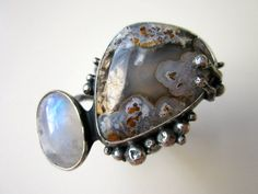 Headlong Into the Night primitive organic rainbow moonstone gray plume agate ring by LoveRoot