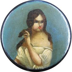 Painted Papier Mache Snuff Box of a Woman, circa 1850