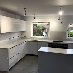 Installed The Bianco De Lusso is a white quartz with a subtle shimmer effect. As you can see it is actually a slight off-white against the high gloss white cabinets, this offers a unique look depending on the light and angle, a subtle contrast. White Cabinets, Kitchen Cabinets, St Albans, White Quartz, Home Decor, White Dressers, Decoration Home, Room Decor, Cabinets