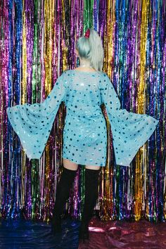 Mermaid Sequin Bell Sleeve Dress