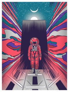 """Artwork inspired by Stanley Kubrick's A Space Odyssey"""" Part of our Kubrick art show, on view at Spoke Art gallery in San Francisco, CA. Stanley Kubrick, Arte Steampunk, Gravure Illustration, 2001 A Space Odyssey, Spoke Art, San Francisco Art, Fanart, Movie Poster Art, Film Posters"""