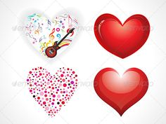 abstract multiple heart set vector illustration eps8,ai files included, rgb color