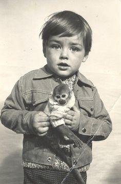 Boy, monkey, monkey sweater.