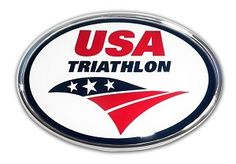 USA Triathlon Oval Chrome Emblem  Show your pride on your Ride with this USA Triathlon Oval Chrome Emblem.Made in the USA!