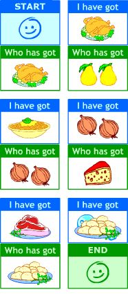 ESL printable ~ Food game