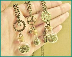 STEAMPUNK BOTTLE NECKLACES by RainbowMoonShop