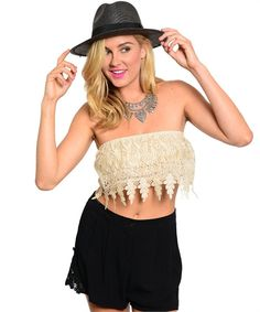 Bandeau Lace Crop Top