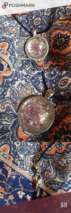 Flowers caught in time Half sphere with tiny flowers frozen in time Jewelry Necklaces