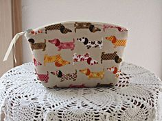 Linen Clutch Cosmetic Bag  Purse Doxies on by Antiquebasketlady, $13.00