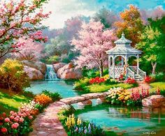 Garden paint home diamond painting kits garden gazebo diamond painting paint with diamonds kit painted garden Fantasy Landscape, Landscape Art, Landscape Paintings, Landscape Lighting, Artist Painting, Diy Painting, Watercolor Paintings, Painting Abstract, Beautiful Paintings