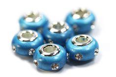 Blue Clay Rhinestone Pandora Beads