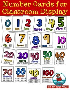 This is a set of number cards for classroom display or you may wish to use them in a math center. The cards show the number 0-9, then 10,20,30,40,50, 60, 70, 80, 90 and 100. * big, bold colorful numbers * each card has the number word under the number * each card shows how many with tally marks