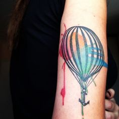 the balloon outline done by Victor at Artist tattoo/Israel and the colors by Ronit at Vision Tattoo/Israel New Tattoos, Body Art Tattoos, Tatoos, Color Tattoos, Air Balloon Tattoo, Classy Tattoos, Matching Tattoos, Beautiful Tattoos, Amazing Tattoos