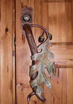 Original autumn fall leaf door handle for home decor