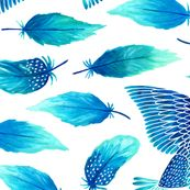 Birds painting their feathers blue by heleen_vd_thillart