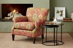The perennially classic accent chair, with graceful, curving keyhole arms, suits up in the rich colors and elaborate details of an antique kilim rug. Elyse's sculpted lines and upright yet comforting proportions offer perfect symmetry for traditional rooms, paired with a sofa or as part of an intimate seating arrangement in the living space or bedroom.