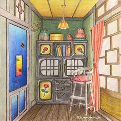 """384 Likes, 65 Comments - junko tomoeda (@tomojun_k) on Instagram: """"・ 「憧れのお部屋」はやっぱり楽しいでーす 壁を緑にしたので、カーテンでバランスとったつもりです ところで、この部屋はどーなってるんでしょう…"""""""