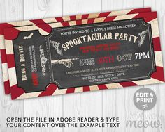Halloween Ticket Invitation > 3.3 x 7 inch INSTANT DOWNLOAD customizable PDF invite. > Edit the text instantly at home using the FREE program Adobe Reader. > Print at home, online or at a print shop. ------------------------- PERFECT FOR A... ------------------------- Halloween Party, Fancy Dress Party, Halloween Event, etc CHANGE THE TEXT TO SUIT YOUR PARTY. NON-EDITABLE TEXT: SPOOKTACULAR -------------------------- YOU WILL RECEIVE -------------------------- > AN EDITABLE INV...
