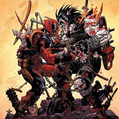 Dirty dancing - Deadpool vs Lobo, by Reilly Brown & Jeremy Colwell. Comic Book Characters, Marvel Characters, Comic Character, Comic Books Art, Comic Art, Marvel Movies, Character Design, Dead Pool, Marvel Vs