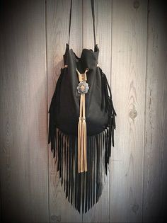 Black Joshua Tree Fringe Crossbody Bag by Native Rainbow