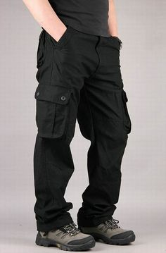 Men's Extra Large Multi Pockets Outdoor Cargo Pants Casual Loose Cotton Trousers