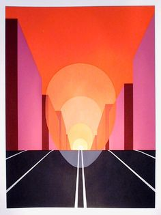 Artist: Clarence Holbrook Carter, American (1904 - 1998) Title: Highway Year: 1979 Medium: Serigraph, signed and numbered in pencil Edition: 200 Image Size: 30 x 22 inches Paper Size: 35 x 26 inches