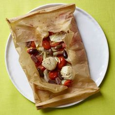 Easiest, healthiest seafood recipe ever: Scallops in Parchment with Fennel, Tomatoes, and Olives