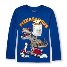 Boys Long Sleeve 'Pizzasaurus' Graphic Tee
