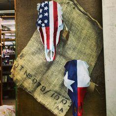 American Flag cow skull and Texas Flag cow skull. Americana Texas