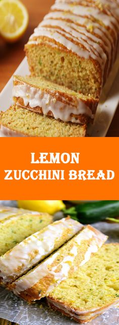 This Lemon Zucchini Bread combines two favorites in one delicious loaf of bread! Topped with a sweet lemony glaze, it's a great way to sneak in extra veggies and the BEST way to wake up! Lemon Zucchini Bread, Lemon Bread, Zucchini Bread Recipes, Healthy Desserts, Healthy Recipes, Healthy Food, Healthy Meals, Gourmet Recipes, Cooking Recipes