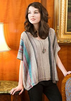 Espenson is an insouciant caftan style tee knit in one easy piece. Each finished tunic will have a completely unique stripe. Shown in Small.