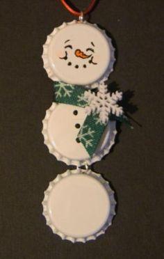 snowman bottle cap ornament by iris-flower