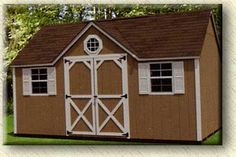 Painted Chalet Portable Shed Standard Features Include: - Two Windows w/ Screen and Shutters - Side Walls - Front Dormer - One Entrance Door - Double Doors - Two Tone Paint - OC Wa 4x8 Shed, Wood Shed Plans, Free Shed Plans, Portable Storage Sheds, Backyard Storage Sheds, Shed Storage, Outdoor Storage, Timy Houses, Exterior Grade Plywood